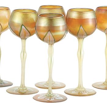 QUEZAL ART GLASS HOCK GLASSES, circa 1905