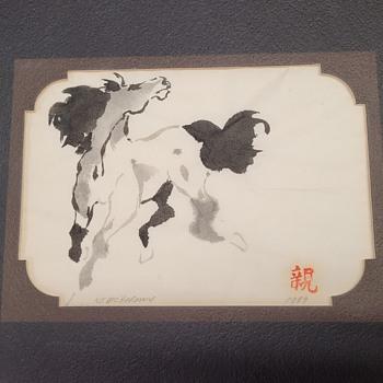 Sumi-e Horse Painting  - Asian