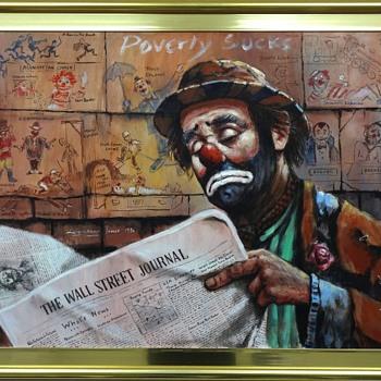 Original Oil Painting of Emmett Kelly by Barry Leighton-Jones