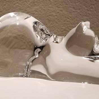 """Steuben Crystal """"Stretching Cat"""" designed by Taf Lebel Schaefer - Art Glass"""