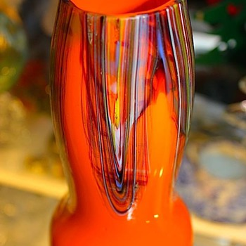 Signed Czech Multi-Color Vase - Art Glass