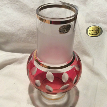 Bohemia Glass, cranberry cut to clear frosted vase - Art Glass