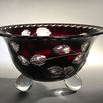 Loetz Cut Glass Tri-footed Bowl C1920 - Art Glass