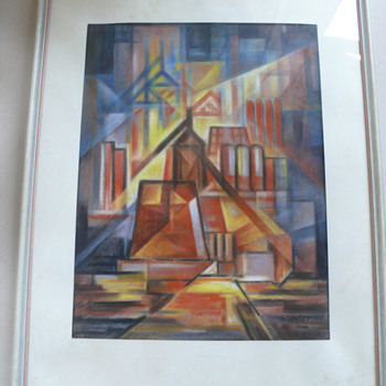 futurism inspired oil crayon or pastell drawing - Fine Art