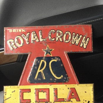Royal Crown Cola ~~ tin tacker made in Covington, Kentucky  - Signs