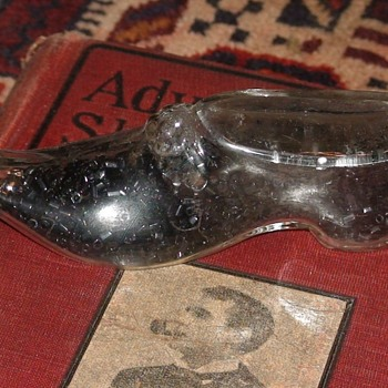Persian Slipper Glass Candy Container - Advertising