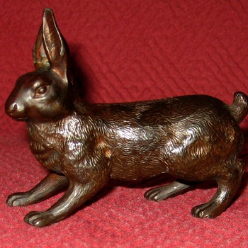 Small Vintage Bronze Rabbit - Animals