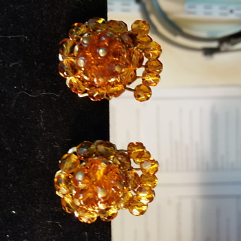 Gold filled amber colored vintage earrings  - Costume Jewelry