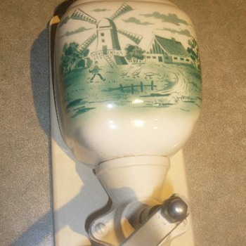 Green Delft Porcelain Wall Mounted Coffee Grinder