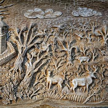 Idyll handmade wood carved panel - Folk Art