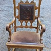 Ornate Engraved, embossed  Leather Back Oak rocker