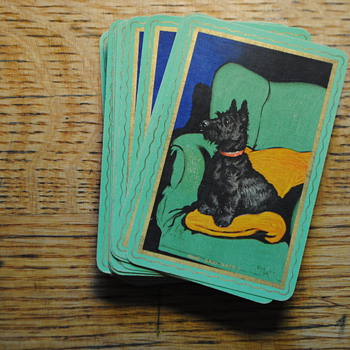 antique doggie playing cards two decks RARE GOODALL Thomas De La Rue and Co LTD London - Cards