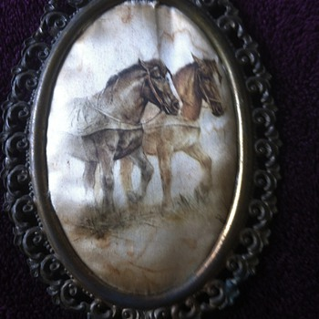 Antique horse art in Victorian frame made in Italy  - Animals
