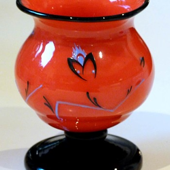 Red Lötz tango vase with enamel decor  - Art Glass