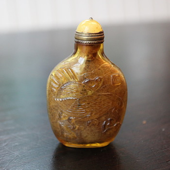 Peking Glass Golden Rooster Snuff Bottle