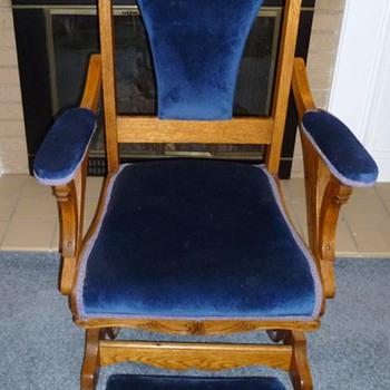 Mystery Platform Oak Glider Rocking Chair & Foot Stool