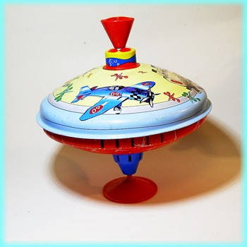 Litho Tin Toy Top - Larger Size - Toys
