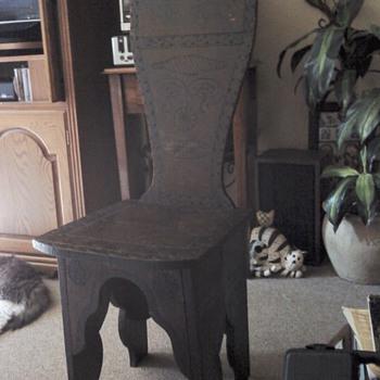 Pyrography chair - Folk Art