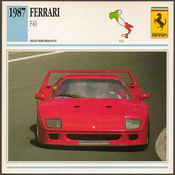 Vintage Car Card - Ferrari F40 - Classic Cars