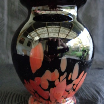 Czech Tango era black & red spatter glass vase - Art Glass