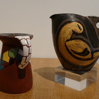 A Vallauris jug by KOSTANDA, Alexandre and a mystery candlestick. - Pottery