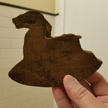 antique wood rocking horse - Toys