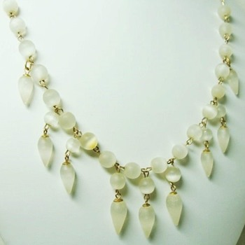 Antique Feldspar Moonstone Drop Necklace - Fine Jewelry