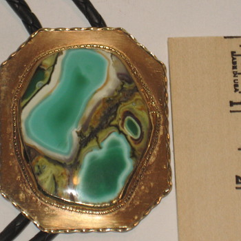 Turquoise and Gold Neck Bolo