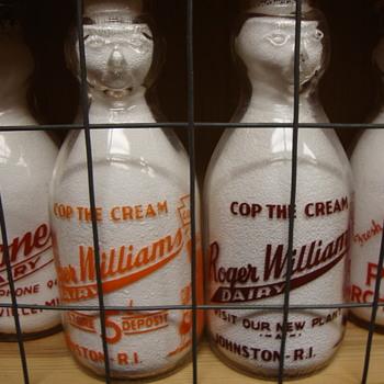 ROGER WILLIAMS DAIRY COP THE CREAM VARIATIONS...JOHNSTON RHODE ISLAND - Bottles
