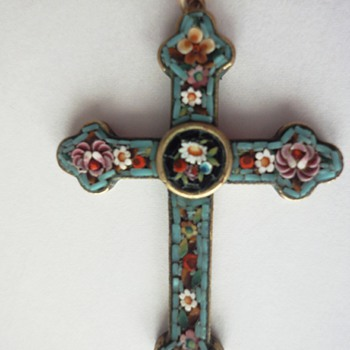 Micro Mosaic Cross Flower pendant - Fine Jewelry