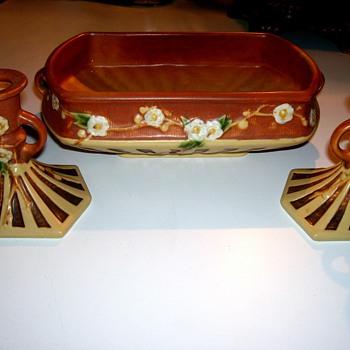 Roseville Cherry Blossom Console Set - Pottery