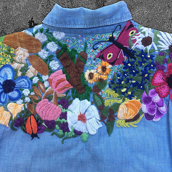 Vintage 60s Lee Chambray Hippie Embroidered Men's Shirt  - Mens Clothing