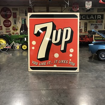 7up  tin painted original 1954 sign  - Signs