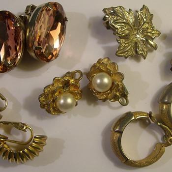 More Costume Jewelry Earrings 1950's & 60's - Costume Jewelry