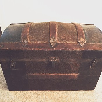 My 3rd great grandmothers antique trunk she took on stage coach - Furniture