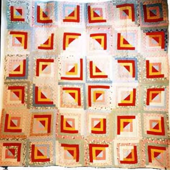 American antique Quilt,cabin lodge,wedding ring,bear paw Patchwork Pattern - Rugs and Textiles