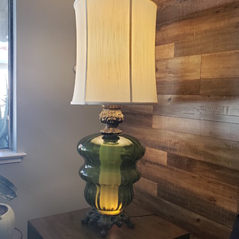 Green glass and bronze lamp from trash pile - Lamps