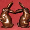 Pair Of Small Bronze Hares