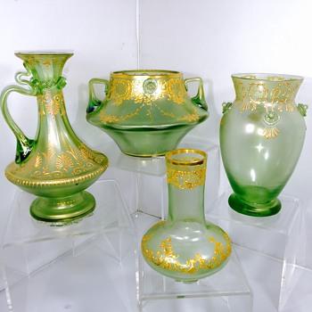 Early Loetz Olympia Prunts Enamelled Vase & Friends  - Art Nouveau