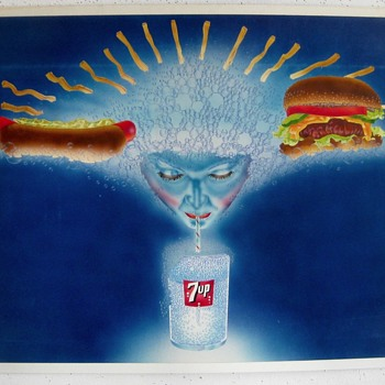 7-Up Painting on Board - Original Ad Art? - Advertising