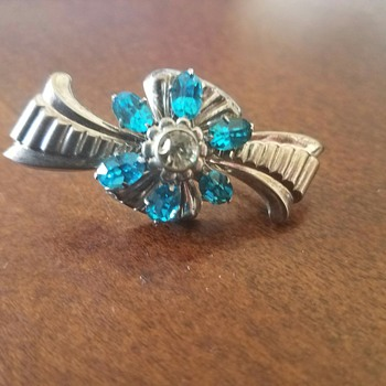 Vintage Sterling Silver Brooch with Faceted Blue Rhinestones by Harry Iskin - Costume Jewelry