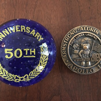 Apollo 11 Paperweight 1969 & 50th Anniversary Together? - Military and Wartime