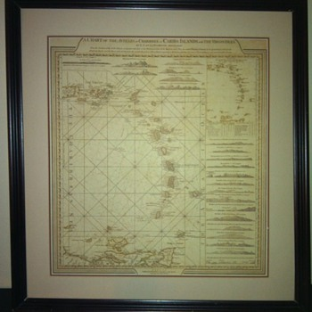 A Chart of the Antilles or Charibbee or Caribs Islands with Virgin Isles - Paper
