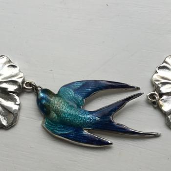 Silver enamel Necklace - Art Nouveau