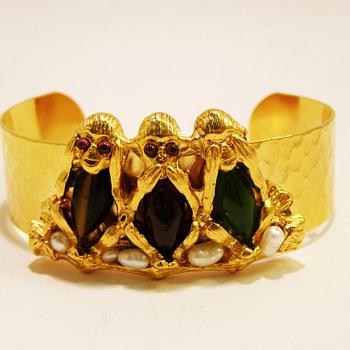 Vintage Swoboda No Evil Monkeys Cuff - Costume Jewelry