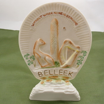 Belleek Trade Mark Plaque and Stand - 6th/7th mark - Pottery