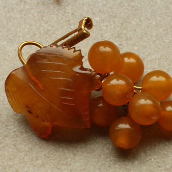 Amber grape brooch
