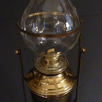 Plume & Atwood Risdon brass plated steel,  gimbaled restaurant wall oil  lamp - Lamps