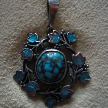 Jessie M. King Turquoise and Enamel Pendant - Fine Jewelry