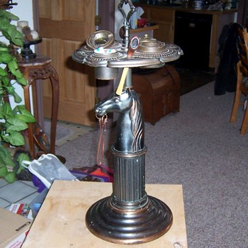 Vintage brass floor ashtray with lighter